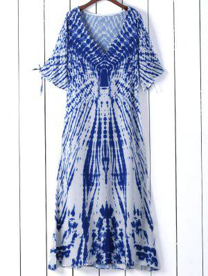 Vestido De Tie-dye Con Cuello En V Con Manga Con Abertura - Azul S
