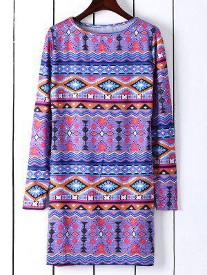 Vestido Recto De Túnica Con Estampado Con Manga Larga - Azul M