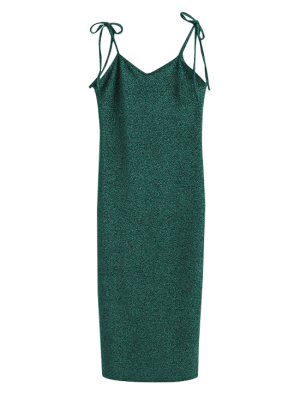 Glitter Lazo Vestido Del Resbalón Del Hombro - Verde S