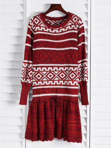 Geometric Pattern Long Sleeve Sweater Dress - Claret
