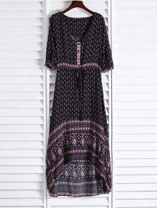 ثلاثة أرباع طول الأكمام طباعة عرقية V فستان ماكسي الرقبة - قهوة S
