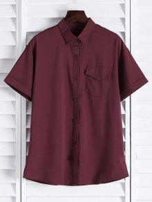 Chest Pocket Short Sleeve Shirt - Claret L