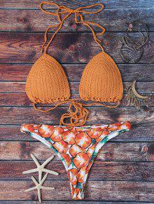 Knitted Pineapple Print Lace Up Bikini Set - Yolk Yellow M