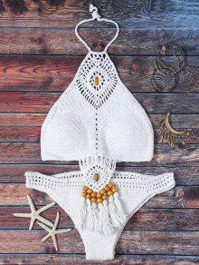 Crocheté Col Haut Ajouré Bikini - Blanc M
