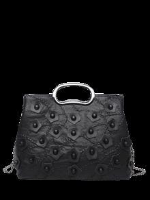خياطة برشام حقيبة يد مع سلاسل - أسود