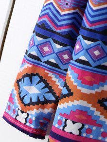 250;nica M Recto Estampado Azul Con Larga Con T De Manga Vestido qtw7xZfx