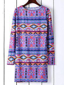فستان طويل الأكمام المطبوعة تونك - أزرق M