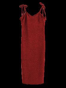 Glitter Tie Shoulder Slip Dress - Burgundy S