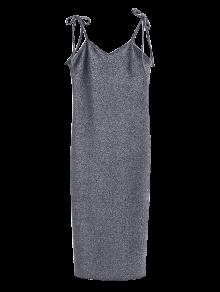 Glitter Tie Shoulder Slip Dress - Silver Gray M
