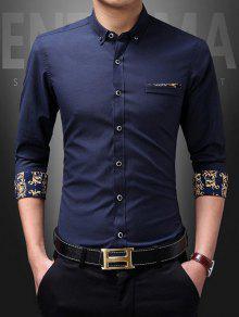 مطبوعة رفض طوق قميص - الأرجواني الأزرق L