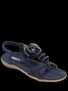 Sandales à Talon Plat Strass à Fleur - Bleu Violet 41