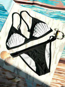 Bikini De Coquillage Bicolore à Taille  Basse - Noir S