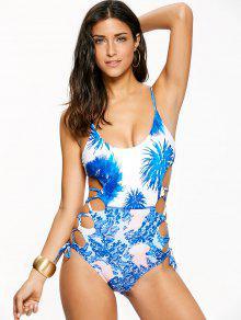 Lace-Up High Cut One-Piece Swimwear - Blue L