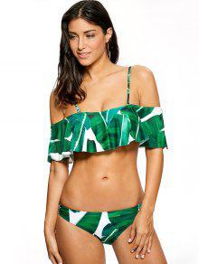 Bikini Fuera Del Hombro Con Volantes Con Estampado De Hoja De Palma - Verde M