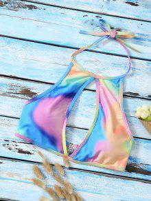 Buy Halter Low Cut Tie Dye Cute Bathing Suit Top - MULTICOLOR L