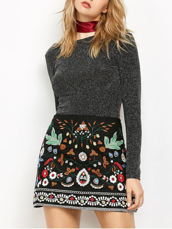Mini Floral Embroidered Flare Skirt - Black