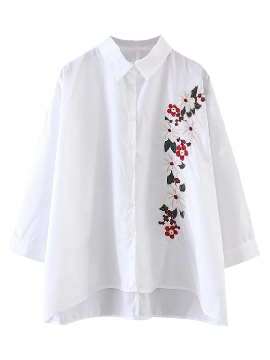 fancy High Low Floral Embroidered Shirt - WHITE S