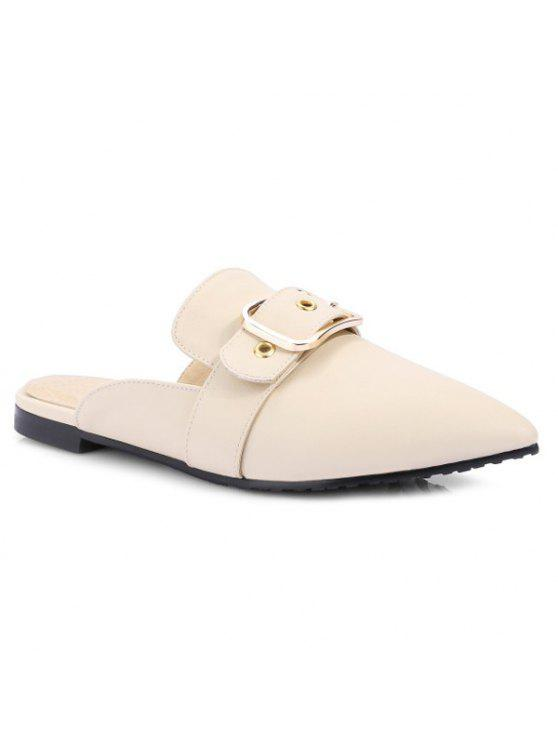 affordable Belt Buckle Flat Heel Slippers - OFF-WHITE 39