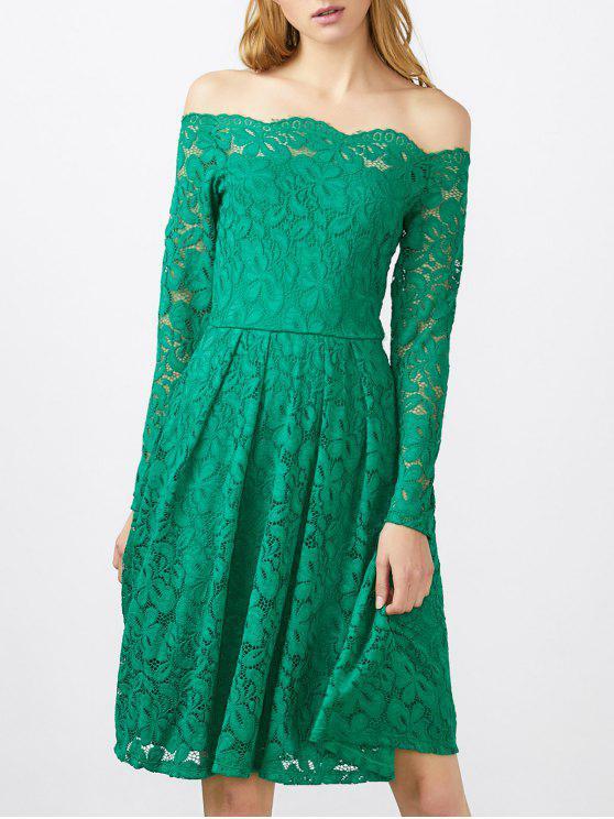 فستان قارب الرقبة دانتيل - أخضر M