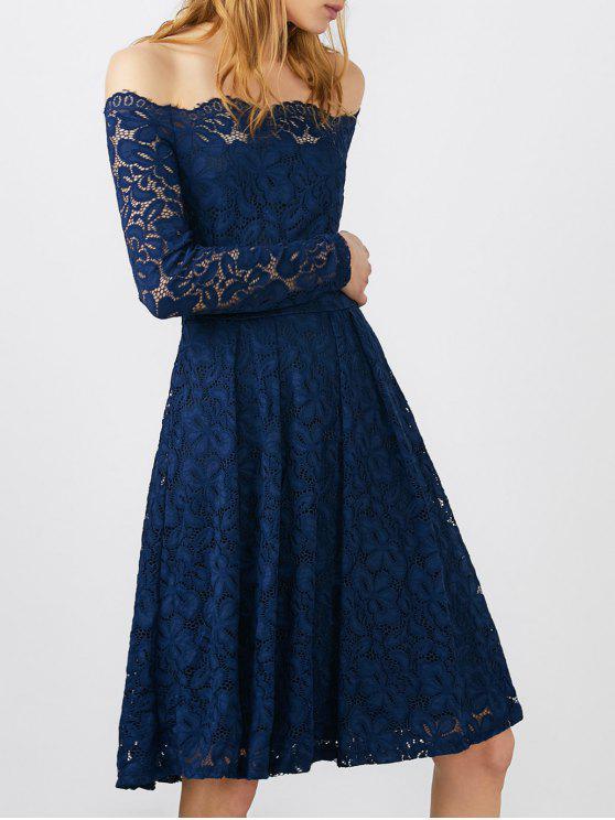 Aus Schulter Spitze Langes Hülsen-Hochzeits-Kleid Blau: Spitzenkleid ...