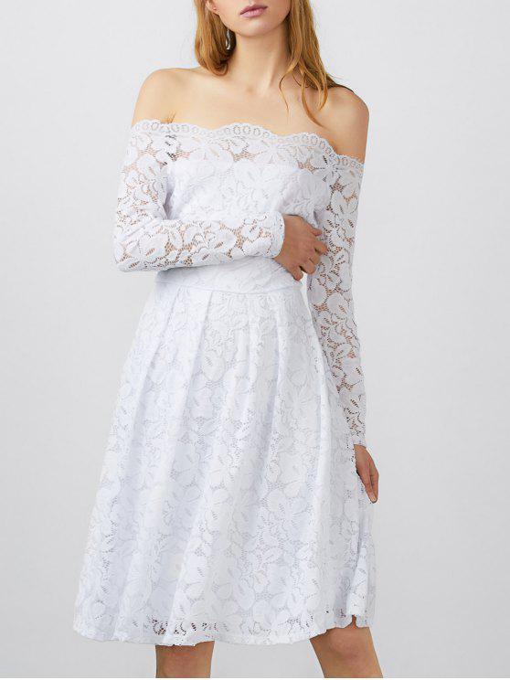 فستان قارب الرقبة دانتيل - أبيض S