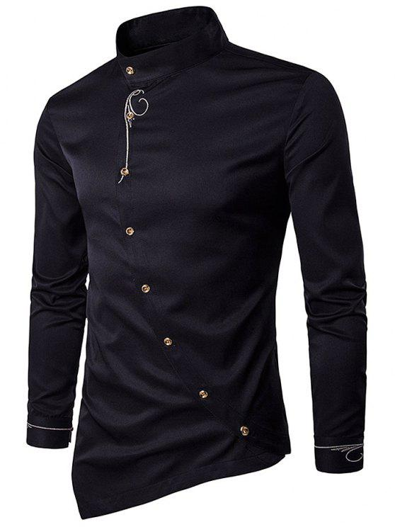 56323620 28% OFF] 2019 Oblique Button Embroidered Long Sleeve Shirt In BLACK ...