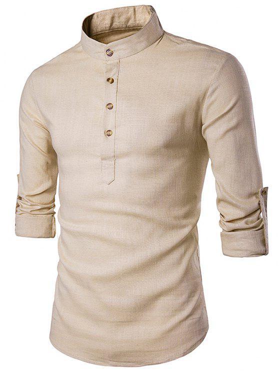 comprare on line 928db b560a Cotone Lino stand colletto della camicia a maniche lunghe