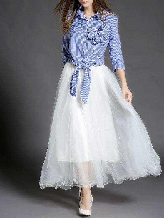 Chemise à nœud à rayures et Maxi jupe en tulle - Bleu et Blanc L