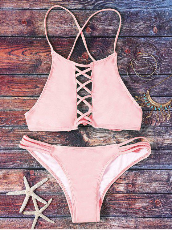 online Pink Hollow Out Halter Bikini Set - PINK S