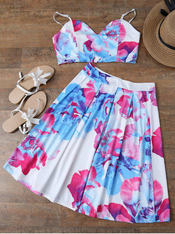 affordable Floral Print Crop Cami Top and Skirt - WHITE S