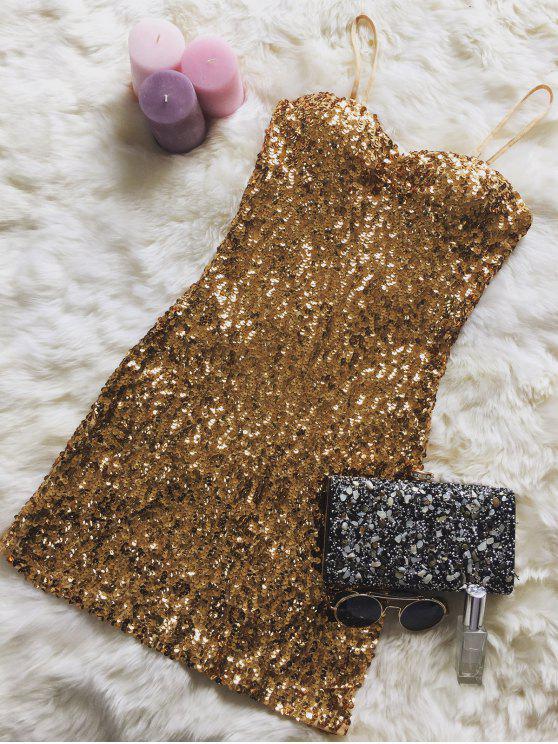 Mini Vestidon de Lentejuelas con Tirantes Finos - Dorado Un tamaño(Montar tam