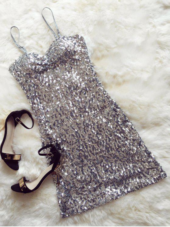 فستان مصغر ترترة - فضة واحد الحجم (حجم صالح XS إلى M)