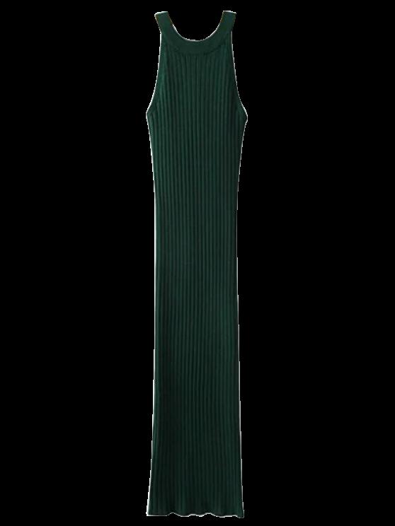 Robe ajustée côtelée fendue sans manches - vert foncé TAILLE MOYENNE