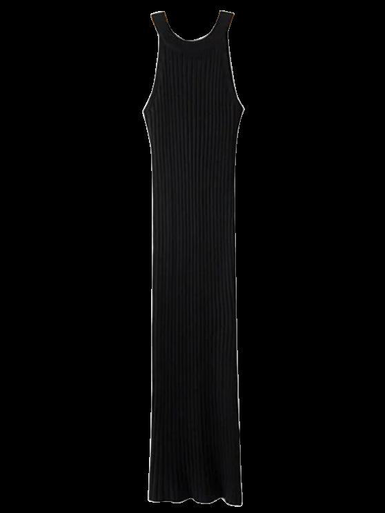 Robe ajustée côtelée fendue sans manches - Noir TAILLE MOYENNE
