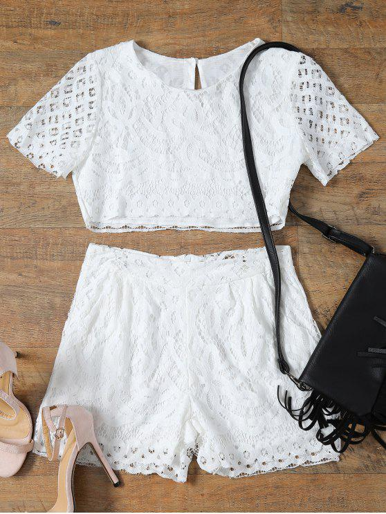 latest Short Sleeve Guipure Lace Crop Top + Pocket Shortst - WHITE S