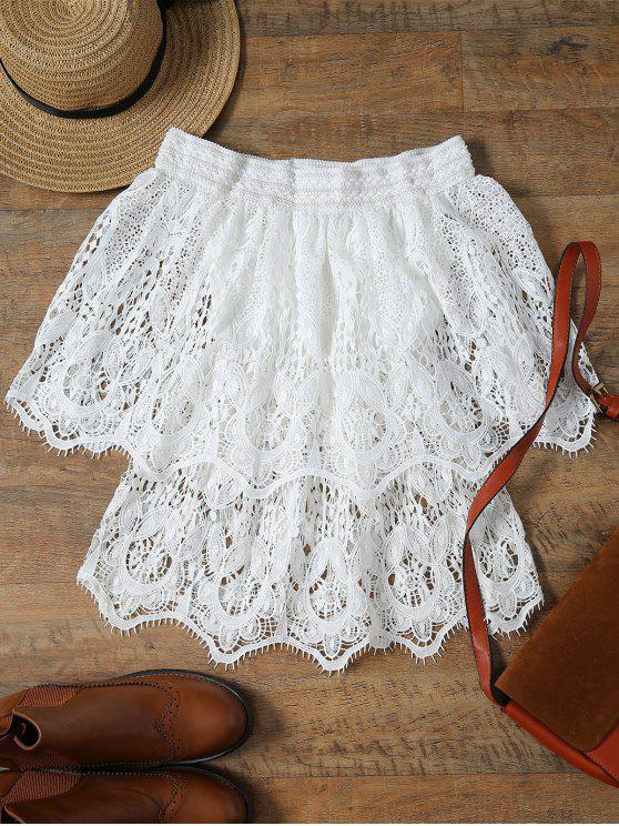 ladies Lace Off The Shoulder Half Sleeve Cover-Up - WHITE ONE SIZE(FIT SIZE XS TO M)