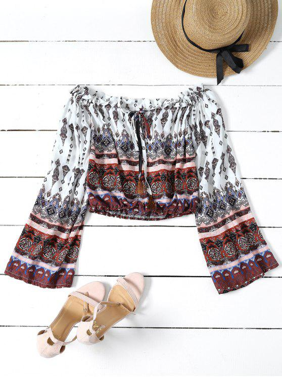 hot Tribal Print Off The Shoulder Cropped Blouse - COLORMIX S