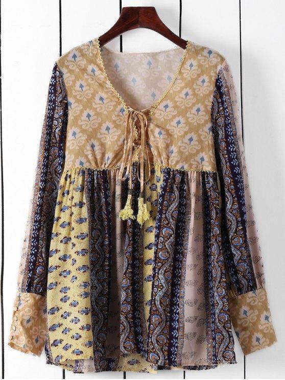 lady Long Sleeve High-Waisted Tunic Dress - YELLOW M