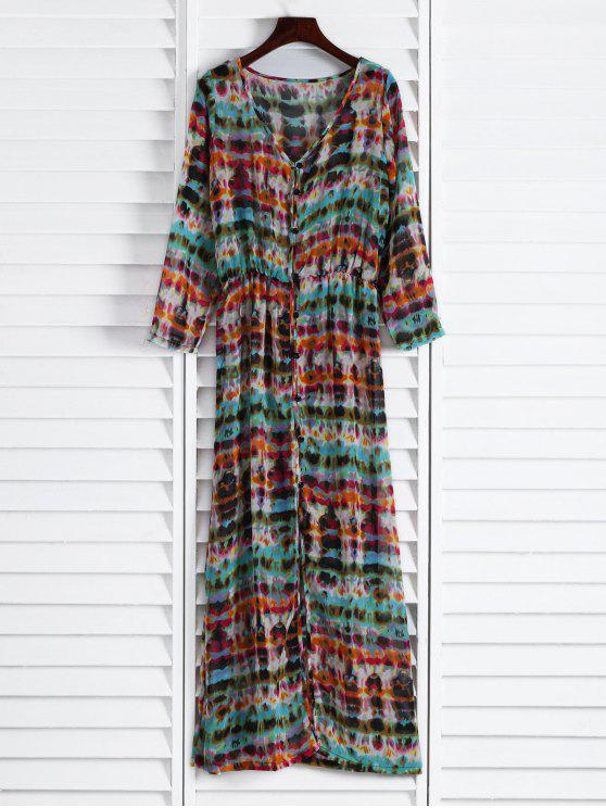 buy Semi Sheer Button Front Maxi Dress - RED AND GREEN ONE SIZE