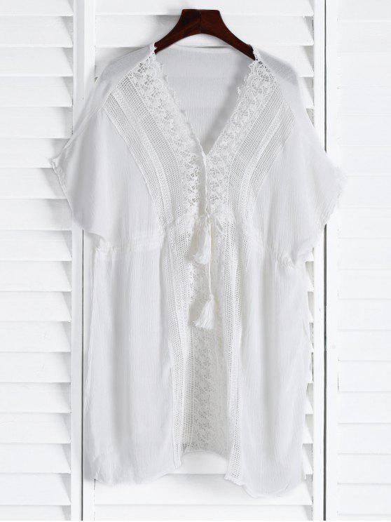 womens Plunging Neck Hollow Drawstring Waist Cover-Up - WHITE ONE SIZE(FIT SIZE XS TO M)
