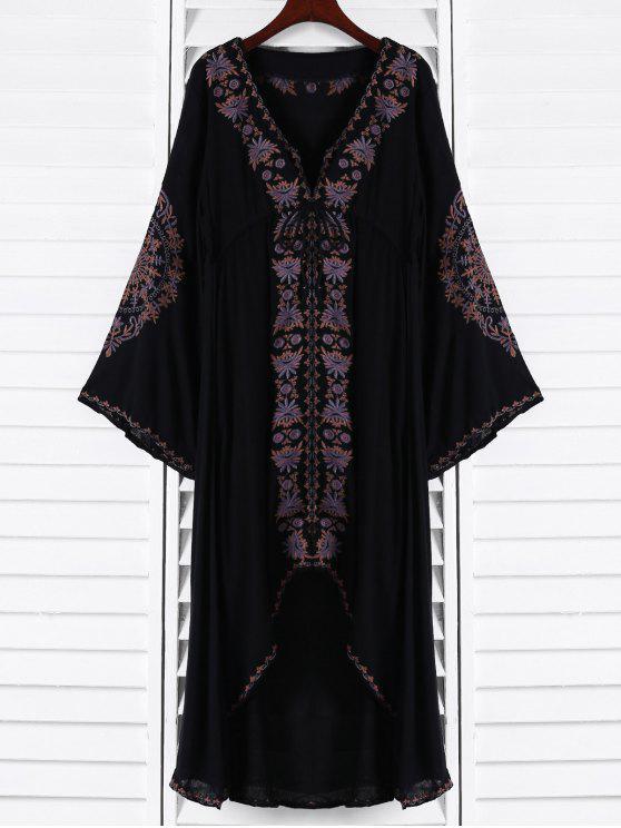 Vestido largo alto-bajo bordado - Negro S