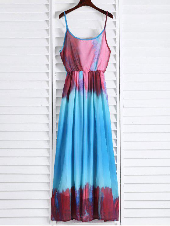 buy Spaghetti Strap Colorful Maxi Dress - AZURE L