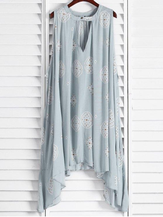 fancy Print Keyhole Swing Dress - LIGHT BLUE XS