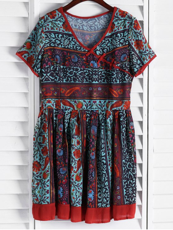 trendy Vintage Floral Short Sleeve Flare Dress - COLORMIX L