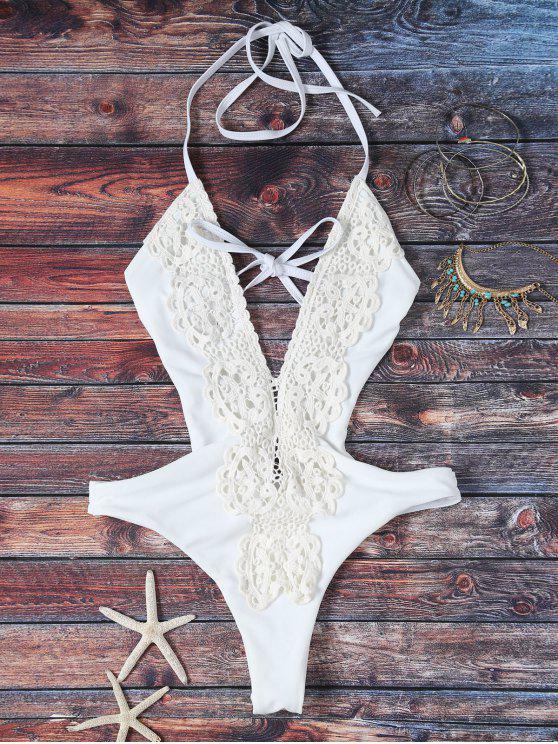 Maillot de bain décolleté plongeant en une pièce avec garnitures en dentelle épissée - Blanc S