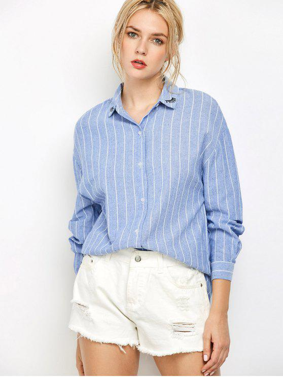 latest Eyelashes Embroidered Striped Button Up Shirt - BLUE M