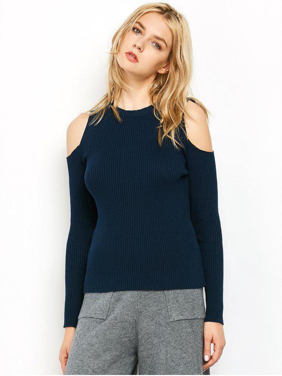 Cold Shoulder acanalado Jumper - Azul Purpúreo XL