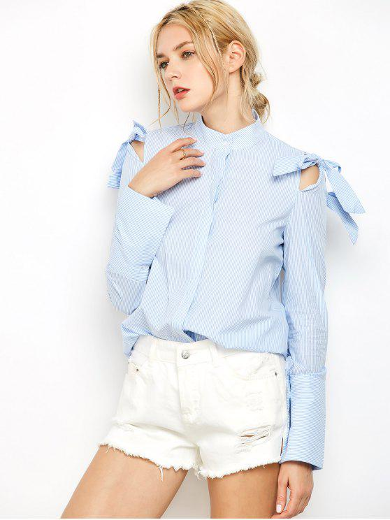lady Striped Stand Neck Bowknot Shirt - STRIPE S