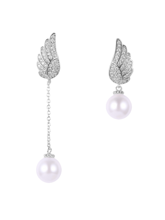 sale Fake Pearl Wing Asymmetric Earrings - SILVER