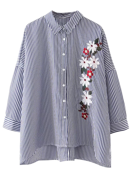 fashion High Low Striped Embroidered Loose Shirt - STRIPE L